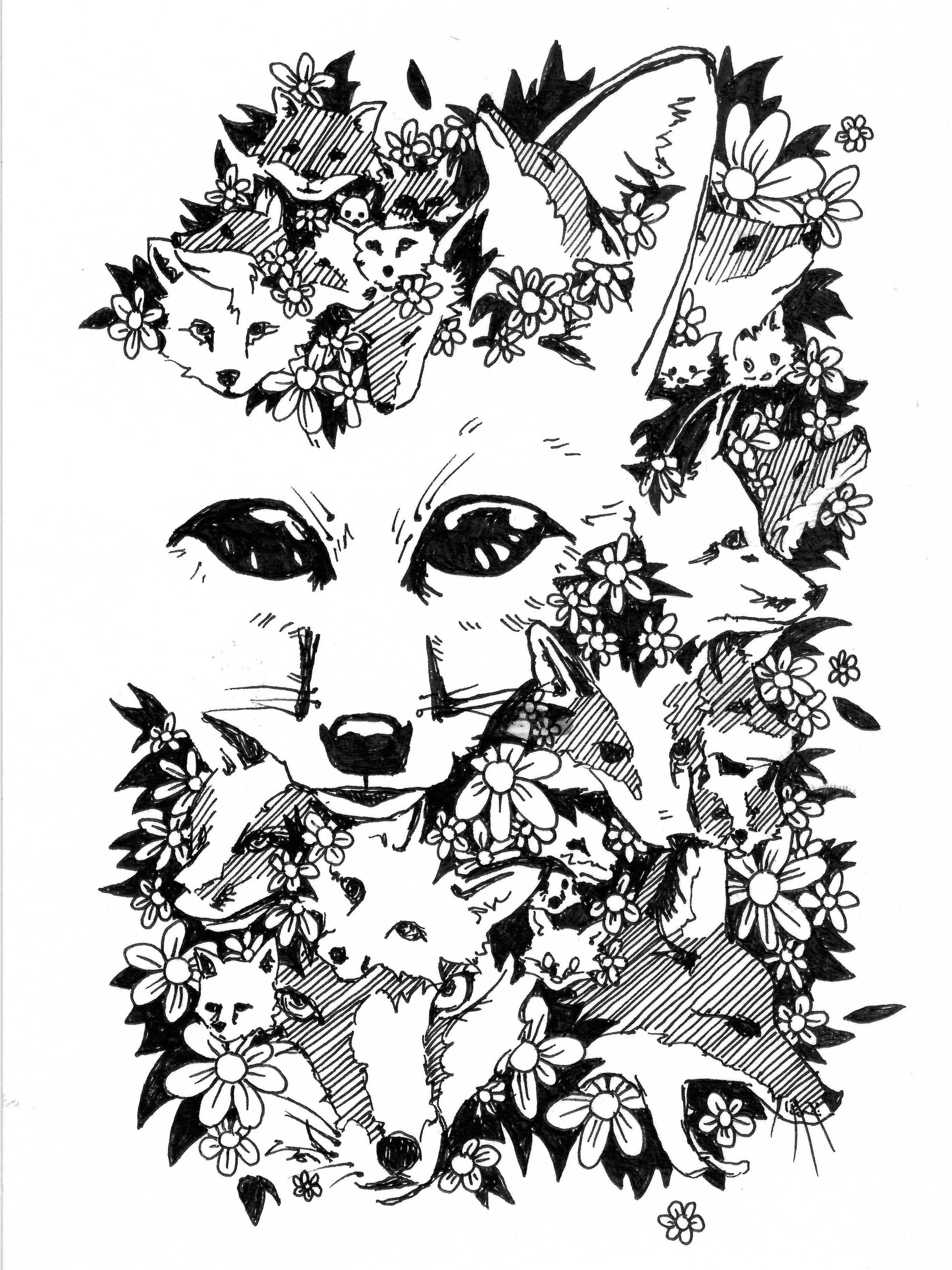 Foxy. Ink, 7 H x 5 W, 2018